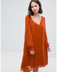 Soaked In Luxury - Drapey Dress With Sleeve Ties - Lyst