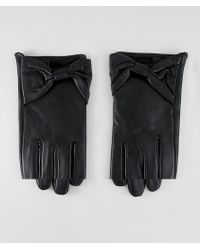 ASOS - Leather Bow Gloves With Touch Screen - Lyst