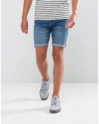 Bershka | Skinny Denim Shorts In Mid Wash | Lyst