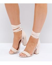 ASOS - Howling Wide Fit Tie Leg Heeled Sandals - Lyst