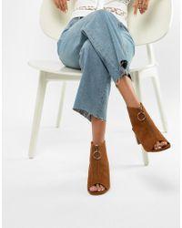 Miss Selfridge - Zip Front Block Heel Shoe - Lyst