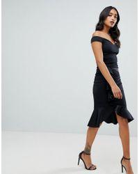 Lipsy - Bardot Wrap Dress With Asymmetric Hem In Black - Lyst