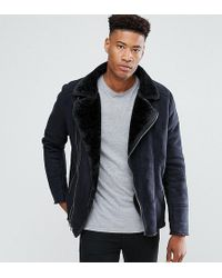 Barneys Originals - Barneys Originals Tall Faux Shearling Biker Jacket - Lyst