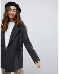 Monki - Checked Double Breasted Jacket - Lyst