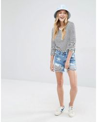 Daisy Street - Denim Shorts With Stars And Distressing - Lyst