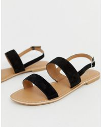 5ebbfa2df948 Park Lane Wide Fit Tie Leg Flat Sandals in Black - Lyst