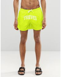 Cheats & Thieves - Mid Length Swim Shorts In Fluro Yellow - Lyst