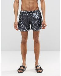 Cheats & Thieves - Mid Length Swim Shorts In Mono Marble Digital Print - Lyst