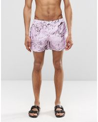 Cheats & Thieves - Mid Length Swim Shorts In Pink Marble Digital Print - Lyst