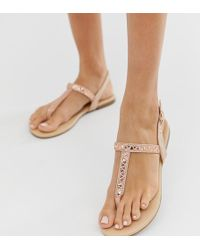 57d98e3a455a Steve Madden Sapphire Rose Gold Strappy Flat Sandals in Metallic - Lyst