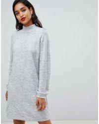 Vila - High Neck Knitted Mini Jumper Dress In Grey - Lyst