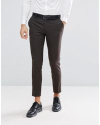 Jack & Jones - Premium Slim Suit Trousers In Herringbone Tweed - Lyst