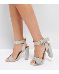 The March - Snake Print Buckle Block Heeled Sandals - Lyst