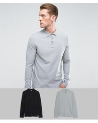 ASOS - Pique Long Sleeve Polo With Button Down Collar 2 Pack Save - Lyst