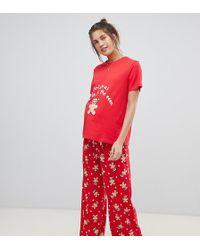 4b407acf878 ASOS - Asos Design Maternity Christmas Gingerbread T-shirt And Trouser  Pyjama Set - Lyst