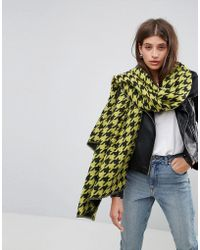 ASOS - Long Bright Houndstooth Scarf - Lyst