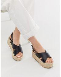Truffle Collection - Cross Strap Flatform Espadrille Sandals - Lyst