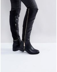 Truffle Collection - Zip Detail Elastic Flat Over Knee Boot - Lyst