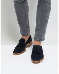 ASOS - Asos Loafers In Navy Suede With Natural Sole And Fringe Detail - Lyst