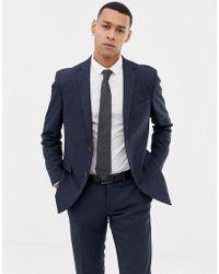 Esprit - Slim Fit Suit Jacket In Blue Twisted Yarn - Lyst