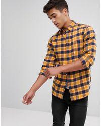 Stradivarius - Slim Fit Check Shirt In Yellow - Lyst