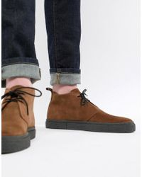Fred Perry - Hawley Mid Suede Boots In Brown - Lyst