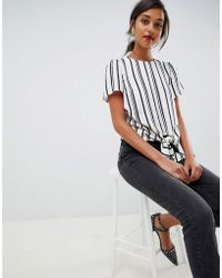 Oasis - Blouse With Knot Detail In Stripe - Lyst