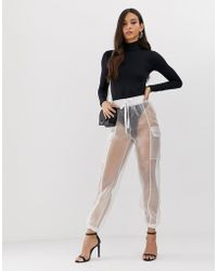 Flounce London - Sheer Organza Combat Trousers In White - Lyst