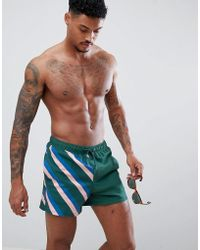 ASOS - Swim Shorts With Cut & Sew Stripe Print Short Length - Lyst