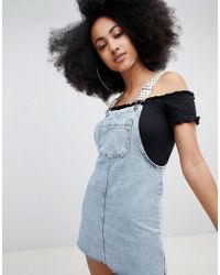 Pull&Bear - Dungaree Dress With Polka Dot Straps In Blue - Lyst