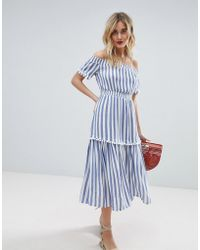 Warehouse - Off The Shoulder Bardot Stripe Midi Dress - Lyst