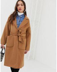 Mango - Tie Waist Coat In Camel - Lyst