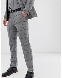 Burton Wedding Slim Fit Suit Trousers In Black Check