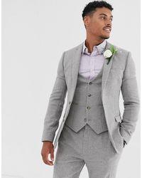 ASOS - Wedding Super Skinny Suit Jacket In Grey Micro Houndstooth - Lyst