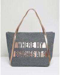 New Look - Beach Slogan Shopper Bag - Lyst