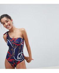 Warehouse - Stirrup Print One Shoulder Swimsuit - Lyst