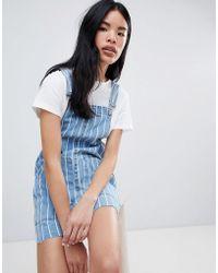 Pull&Bear - Stripe Denim Overalls Dress - Lyst