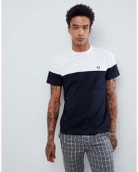 Fred Perry - Logo Panelled T-shirt In Navy/white - Lyst