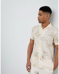 Bellfield - Short Sleeve Revere Collar Shirt With Leaf Print - Lyst