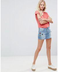 Blend She - Blend Bright Lil Patches Denim Mini Skirt - Lyst