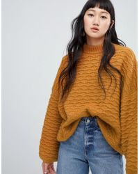 Weekday - Textured Sweater In Camel - Lyst