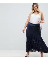 ASOS - Asos Design Curve Satin Mix Tiered Hem Maxi Skirt - Lyst