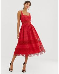ASOS - Square Neck Midi Prom Dress In Broderie With Lace Insert - Lyst