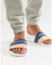 Nicce London Nicce Logo Sliders In Navy - Blue