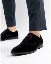 ASOS DESIGN - Lace Up Dress Shoe In Black Velvet - Lyst