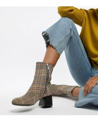 Monki - Check Heeled Ankle Boots In Brown - Lyst
