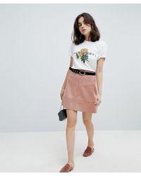 Pieces - Faux Suede Mini Skirt - Lyst