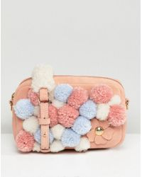 UGG - Janey Pink Pom Pom Cross Body Bag - Lyst