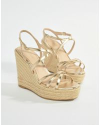 Mango - Strappy Espadrille Wedge In Gold - Lyst