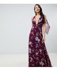 ASOS - Asos Design Tall Pleated Maxi Dress With Tape Detail In Winter Floral Print - Lyst